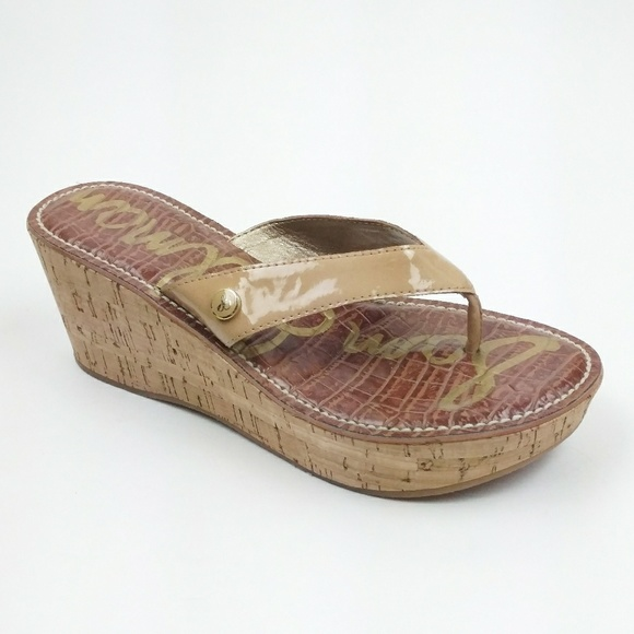 9fb56e5ae Sam Edelman ROMY Nude Patent Cork Platform Wedges.  M 5a3d88db61ca10cbbd02f544. Other Shoes you may like. Sam Edelman flip flops .